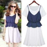 Two Piece Blue Dots Strap And White Short-Sleeve Chiffon Dress