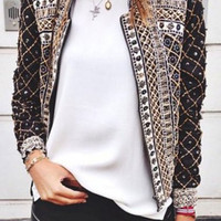 Multicolor Printed Stand Collar Long Sleeve Coat