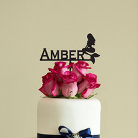 Mermaid Cake Topper Happy Birthday Personalized Wooden Rustic Topper Wood Cake Topper