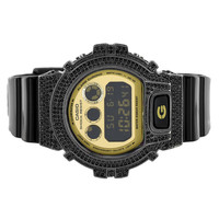 Gold Dial GShock Watch Black Bezel Silicone Strap Dw6900CB-1DS