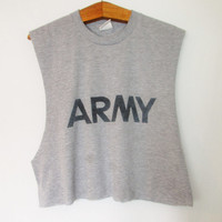 Vintage Army Cutoff Crop Top