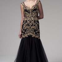 kc131576 Black Gold Cap Sleeve Prom Dress by Kari Chang Couture