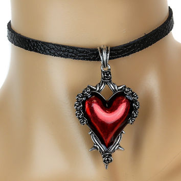 Red Heart Gothic Roses Vine Leather Choker Necklace Deathrock Jewelry