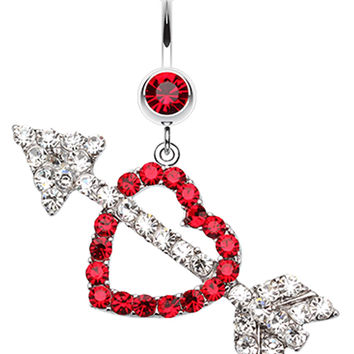 Jeweled Heart Arrow Belly Button Ring