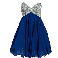 Sweetheart sleeveless mini chiffon pleated crystal beads short Prom/Evening/Party/Homecoming/Bridesmaid/Cocktail/Formal Dress