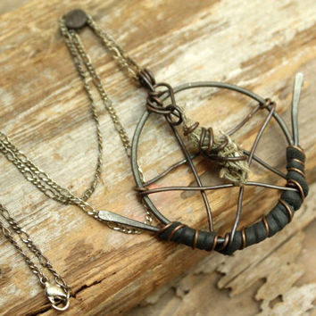 Spirit, Earth, Air, Fire, Water, Swamp Witch Pentagram with Wire Wrapped Spanish Moss, Hammered Iron, Copper, Louisiana, Swamp, Bayou, Witch