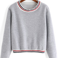 Striped Trim Grey Sweatshirt