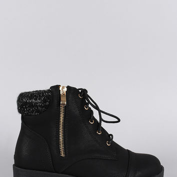 Sweater Cuff Lace Up Zipper Combat Ankle Boots