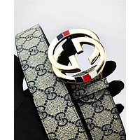 GUCCI hot selling embossed multicolored belt fashion men's and women's casual belt #7
