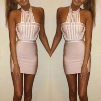 Fashion Halter Package Hip Dress