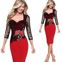 Womens Sexy Sequins Crochet Butterfly Lace Party Bodycon Evening Bridemaid Mother of Bride Special Occasion Dress
