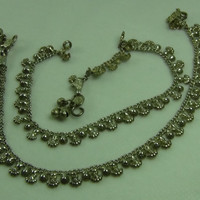 Pair Of Tribal Anklets Sterling Silver Belly Dance Jewelry