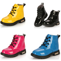 Girl's Leather Motorcyle Boots