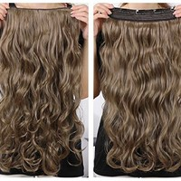 """OneDor® 20"""" Curly 3/4 Full Head Synthetic Hair Extensions Clip on/in Hairpieces 5 Clips 140g (18#-Light Ash Brown)"""