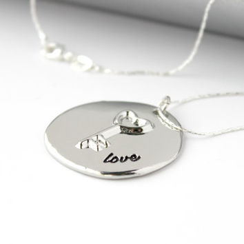 """Simple """"Love"""" Word and Key Disc Pendant - Romantic Handmade Valentine's Day Jewelry - Minimalist Necklace - Ready to Ship"""