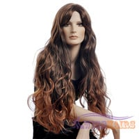 """26"""" long Wavy with Bangs Synthetic Wigs for Women Basic Cap Colorful"""