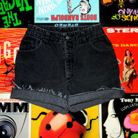High Wasted Cut Off Denim Shorts, 90s BLACK Stone Washed Jean Shorts, Frayed, Rolled Up Watch LA Brand JEAN Shorts Size 8 M Medium
