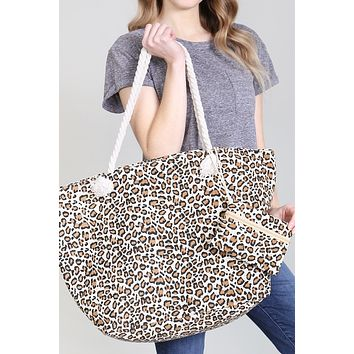 Two-Piece Set Leopard Print Tote Bag