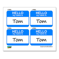 Tom Hello My Name Is - Sheet of 4 Stickers