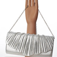 Deco Inspired Silver Lamè and Rhinestone Evening Bag