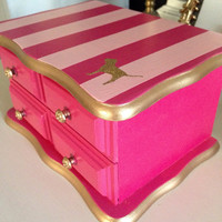 Custom Vintage Jewelry Box Hand Painted & Decoupaged Pink