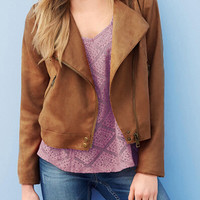 Brown Tasseled Back Lapel Jacket