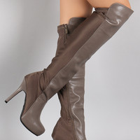 Dollhouse Lycra Panel Stiletto Over-The-Knee Boots