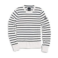 Nautical Stripe Crew Neck Sweater in Ivory and Navy by Sperry