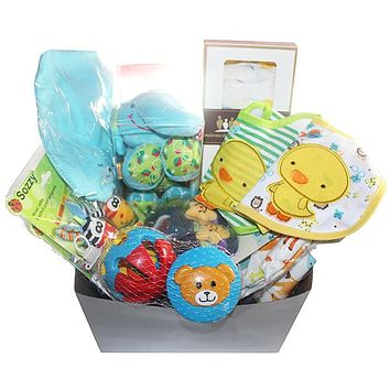 Gifts Are Blue Unisex Baby Bundled Box Gift Set - 10 Items