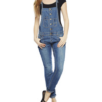 Contrast Stitch Roll Cuff Overall | Wet Seal