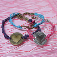 CUSTOM Bracelet with Your Choice of Heart, Infinity, Bird, or Star Charm and Cord Color in Purple, Pink or Turquoise