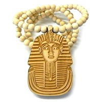 Natural Wooden Pharaoh King Tut Pendant with a 36 Inch Beaded Necklace Chain Good Quality Wood