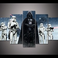 HD Prints Pictures Wall Art Canvas Posters Home Decor 5 Pieces Star Wars Darth Vader Movie Paintings For Living Room Framework