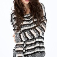 Teddy Stripe Long Sleeve Sweater