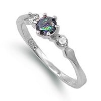 Sterling Silver Simulated Mystic Rainbow Topaz & Cz Ring - Size 7