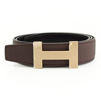 AUTHENTIC HERMES CONSTANCE H BELT DARK BROWN BLACK T 85 GRADE NS USED-AT