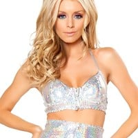 Holographic Silver Sequin Bra : Metallic Rave Tops from Roma Costumes