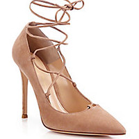 Gianvito Rossi - Femì Suede Lace-Up Pumps - Saks Fifth Avenue Mobile