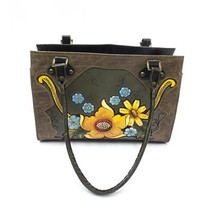 Classic Mexican hand-painted purse with tooling and soft leather lining