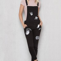 Black Patched Skinny Overalls