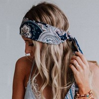 Paris Paisley Scarf - Navy Blue