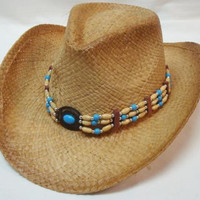 Western Turquoise Beaded Cowboy Hat