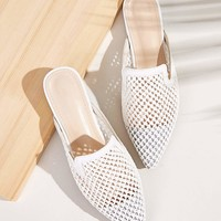 Point Toe Braided Detail Flat Mules