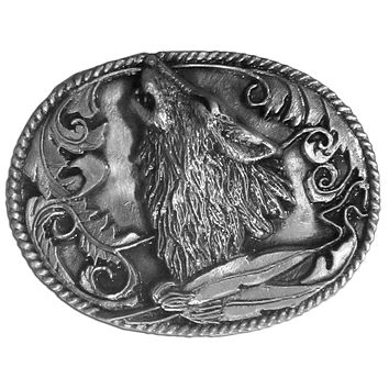Sports Accessories - Howling Wolf Antiqued Belt Buckle