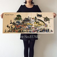 Home Decoration Retro Kraft Paper Drawing Cartoon Movie Poster Wall Hanging Painting Stickers Hayao Miyazaki Printed Draw