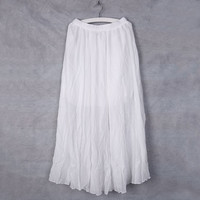 VintageRetro Ladies Cotton Pleated Hitched Hem Long Maxi Skirt Casual Style