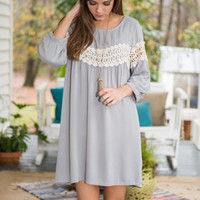 Queen Of Crochet Tunic, Gray
