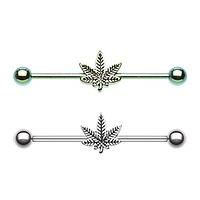 Green Colorline & Silver Pot Leaf Industrial Barbell