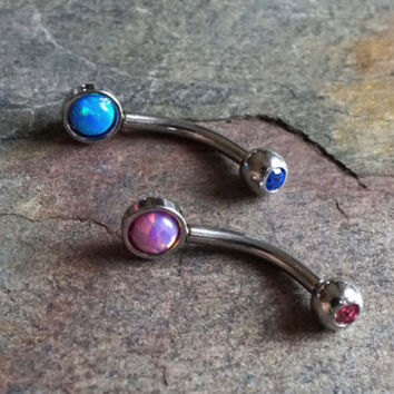 Rook Earring Daith Piercing Fire Opal Eyebrow Ring Pink Opal Turquoise Blue Opal