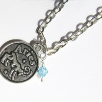 Aries Zodiac Charm Birthstone Necklace,  March or April Birthstone Jewelry, Antique Silver Zodiac Sun Sign Necklace, Astrological Jewelry,
